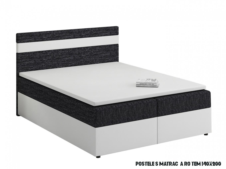 Manželská postel Boxspring 6x6 cm Mimosa (s roštem a matrací) (bílá +  černá)  HezkýNábytek.cz