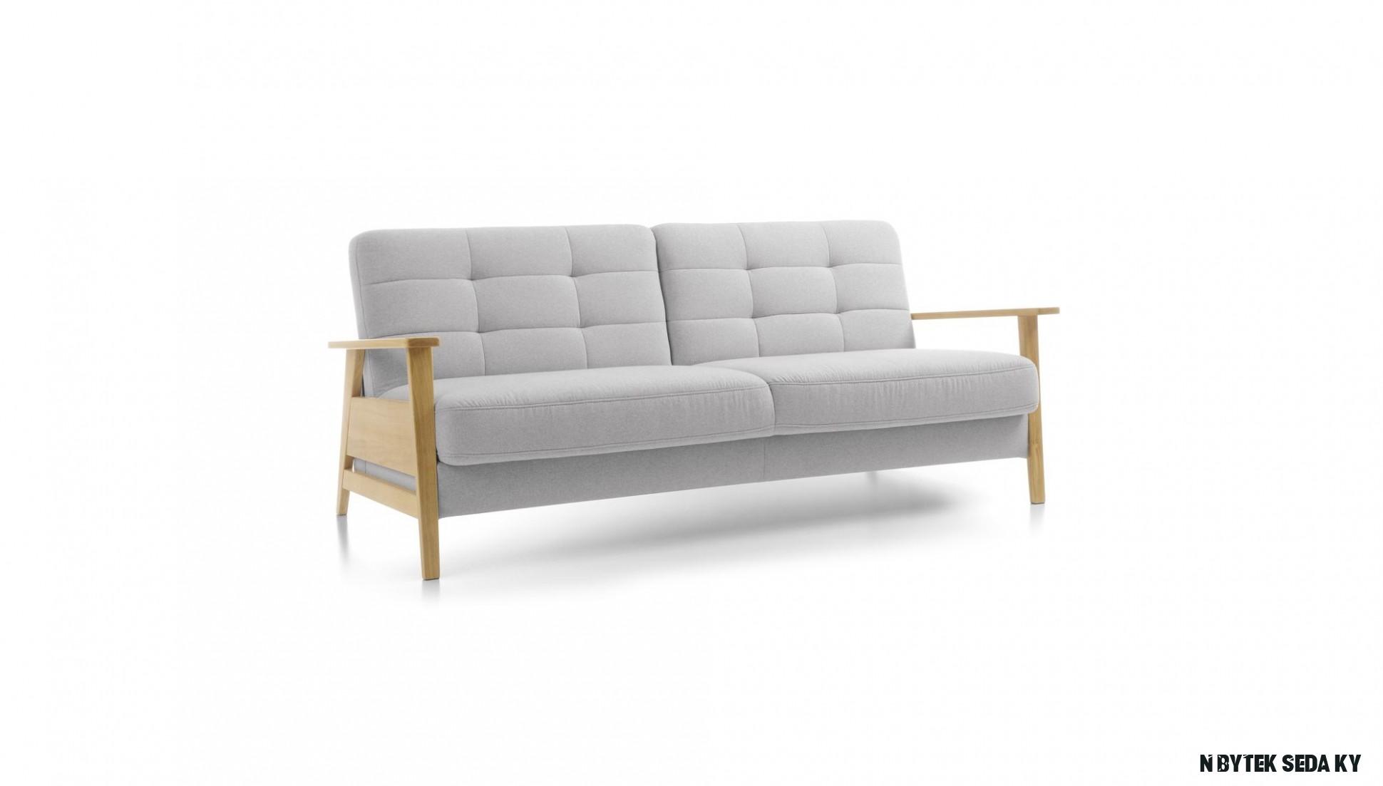 Sedačka s dřevěnými opěrkami a funkcí spaní, Olaf - Nábytek Mirek