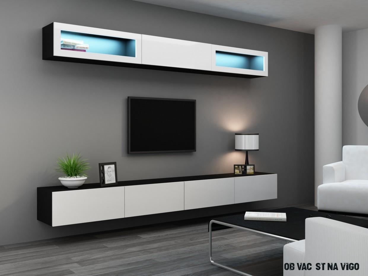 Obývací stěna VIGO 12C černý / bílý lesk