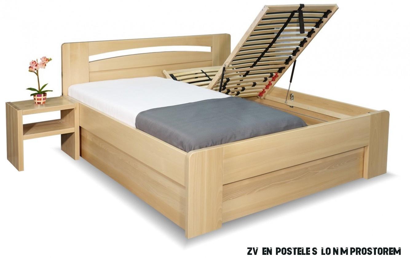 Zvýšená postel s úložným prostorem Riči, 15x15, masiv buk