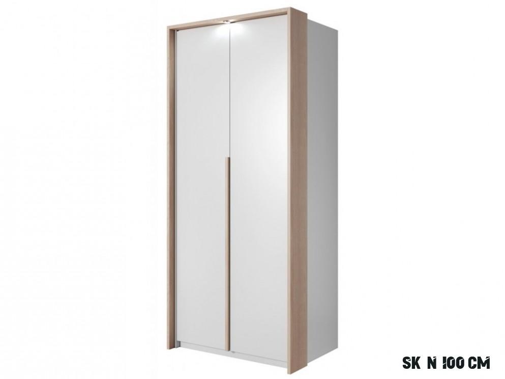 Šatní skříň 16 cm v bílé matné barvě s dekorační lištou s LED osvětlením  typ 16 KN16 - NAKUP-NABYTEK.cz