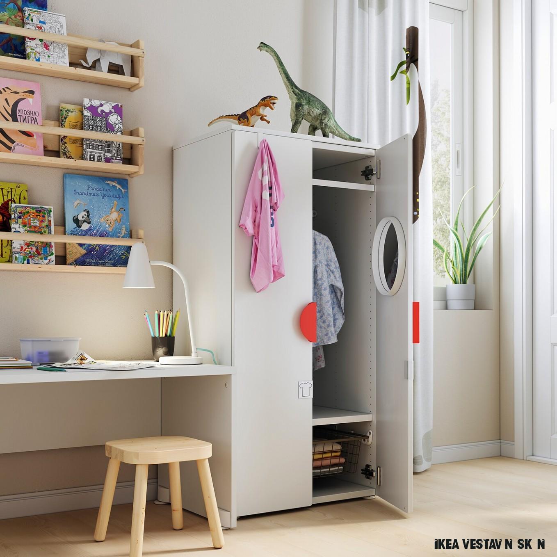 SMÅSTAD Šatní skříň - bílá/zelená - IKEA