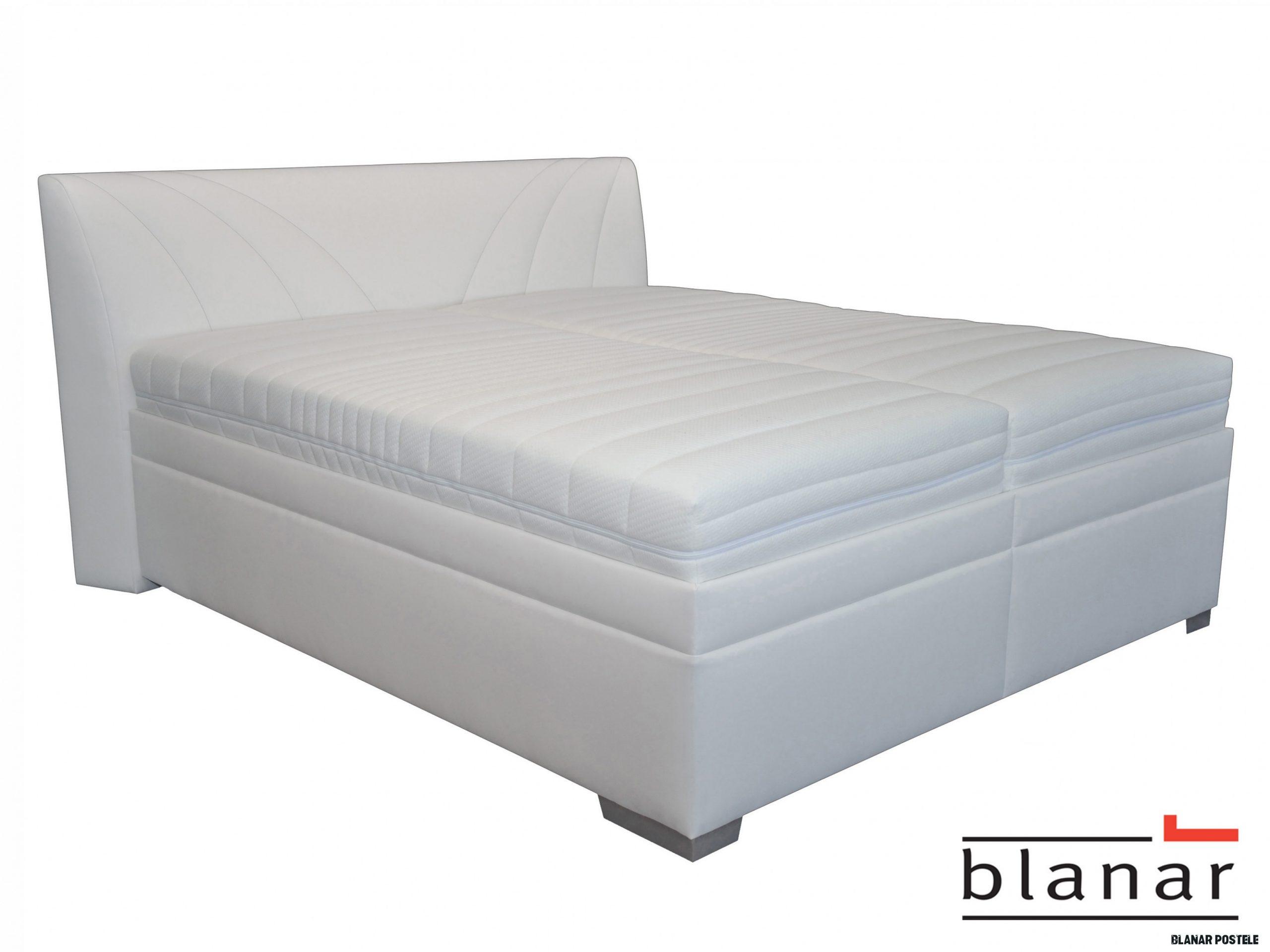 Manželská posteľ 17 cm Blanár Velvet (s roštom a matracmi) (biela