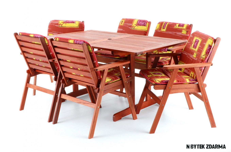 Dřevěný zahradní nábytek MERILIN 14 + luxusní sedáky ZDARMA