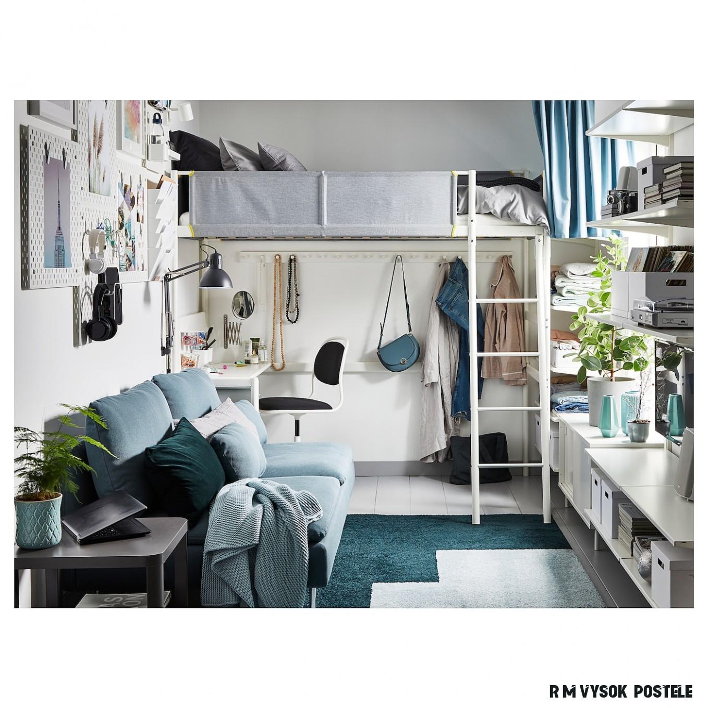 VITVAL Rám vysoké postele se stol.deskou - bílá/světle šedá 19x19 cm