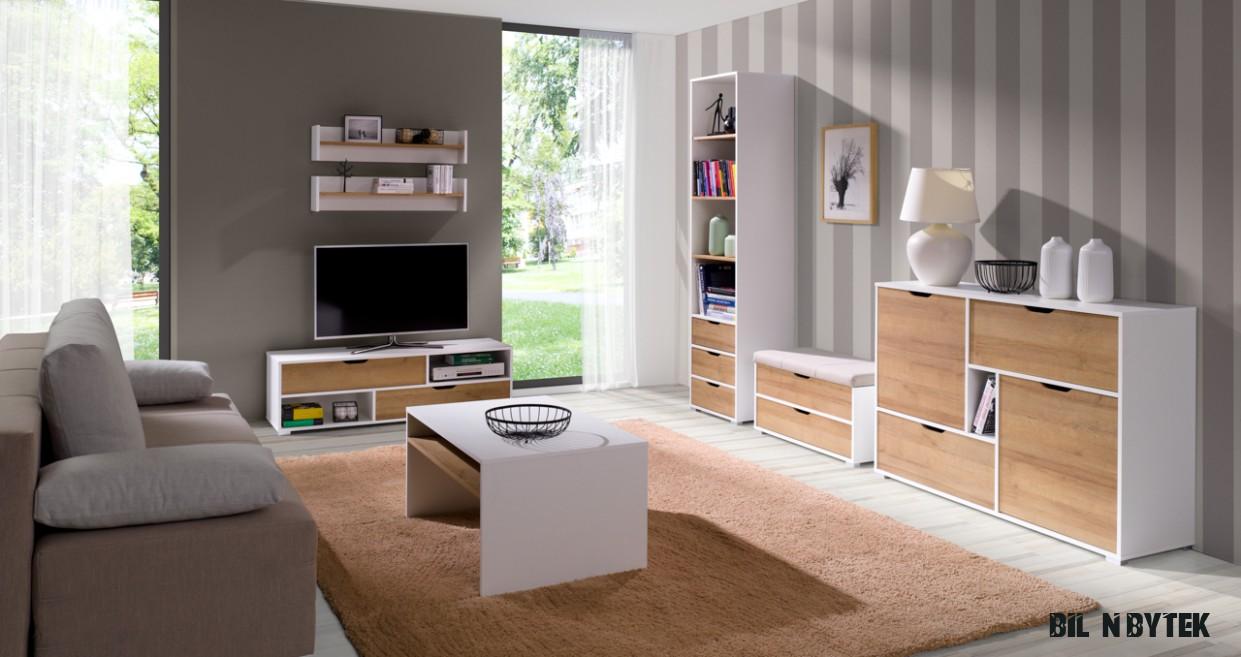Nábytek do obýváku IWA 16 Bílý / Dub zlatý