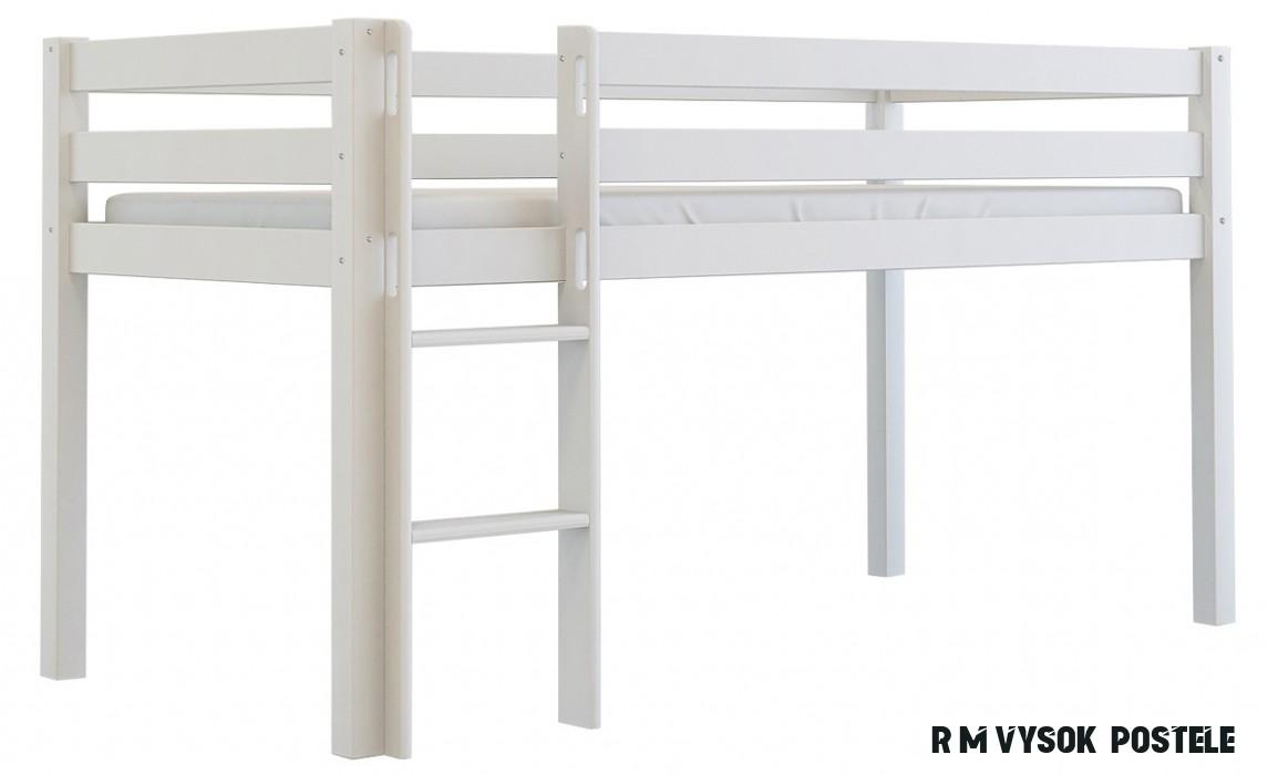 Vysoká postel Scarlett TOM - bílá - 19 x 19 cm - BabyBoo