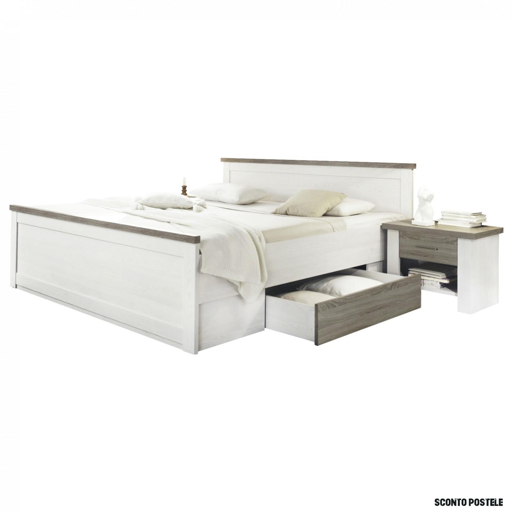 Posteľ s nočnými stolíkmi PARVATI biela, 8x8 cm  Sconto