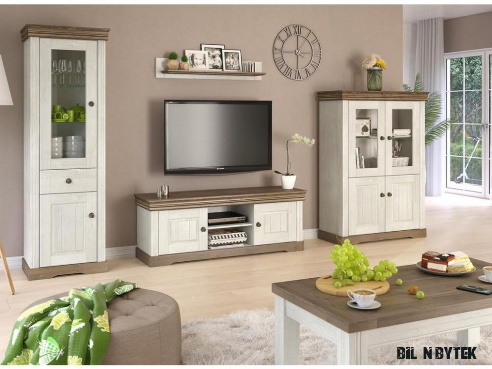 Obývací stěna MADERA 16, dekor bílá-hnědá, masiv, borovice - Bílý Nábytek