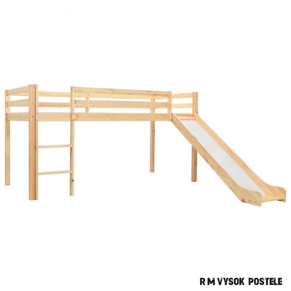 shumee Rám dětské patrové postele skluzavka a žebřík borovice