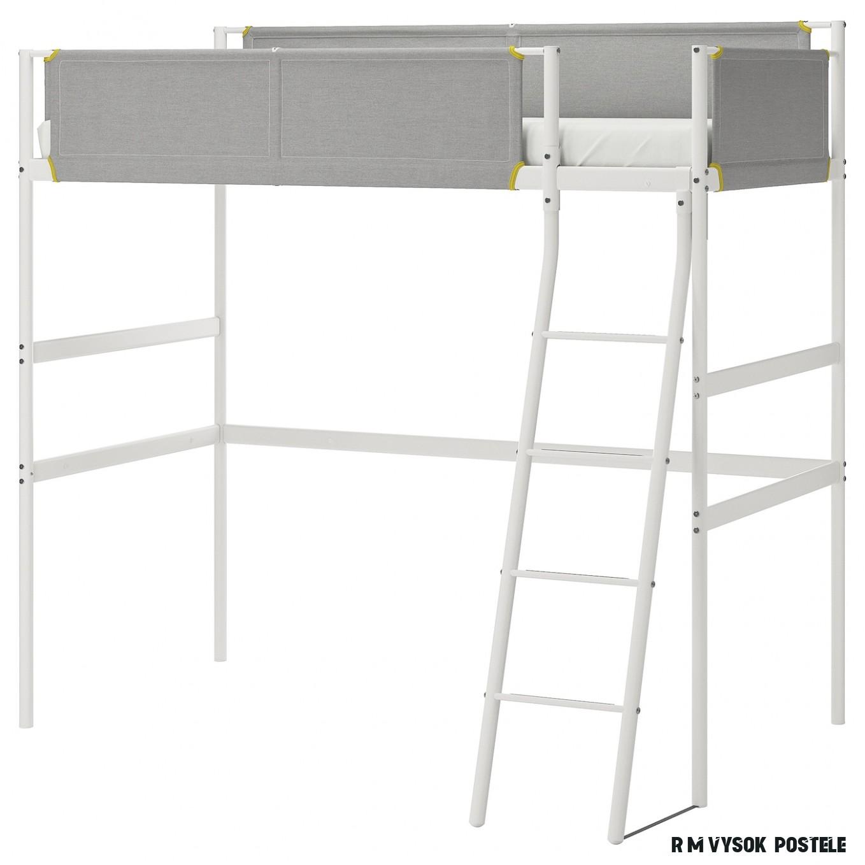 VITVAL Rám vysoké postele - bílá/světle šedá 19x19 cm