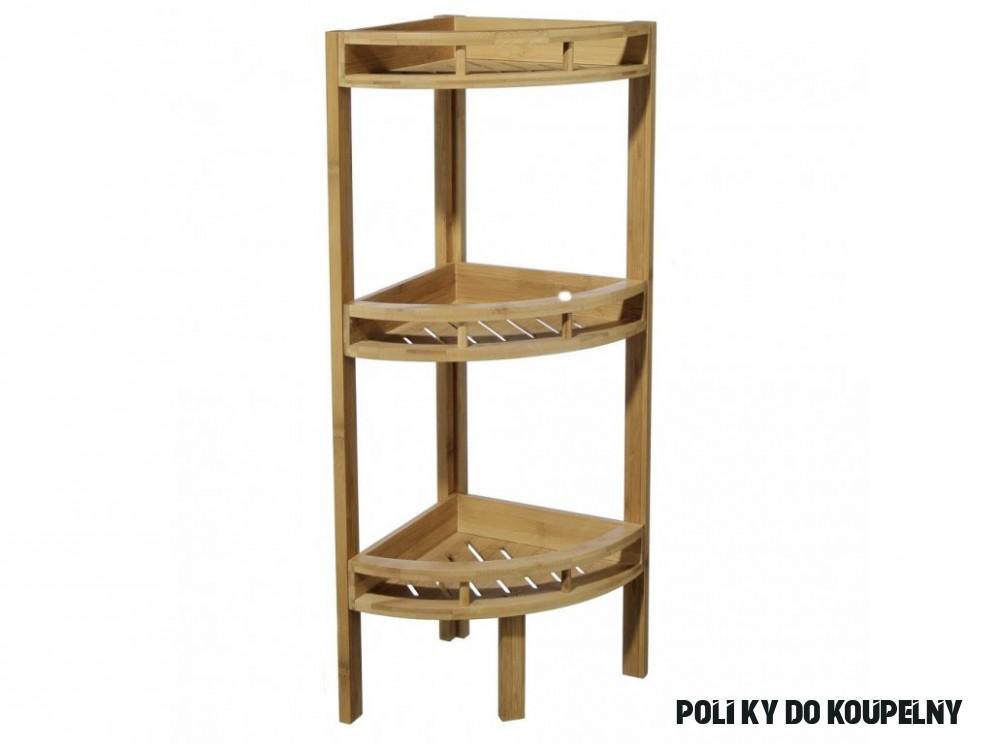 Třípatrová rohová polička z bambusového vlákna do koupelny anebo sauny,  regál s poličkami, polička bambusová, bambusový nábytek, koupelnový nábytek
