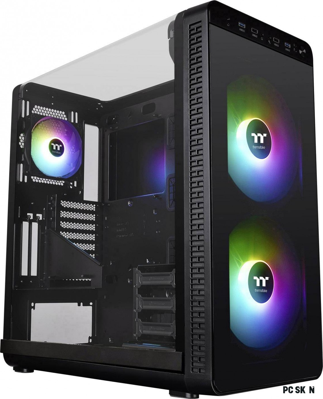 Thermaltake View 12 ARGB (Pure RGB) midi tower PC skříň černá 12  předinstalované LED ventilátory, boční okno, instalace p
