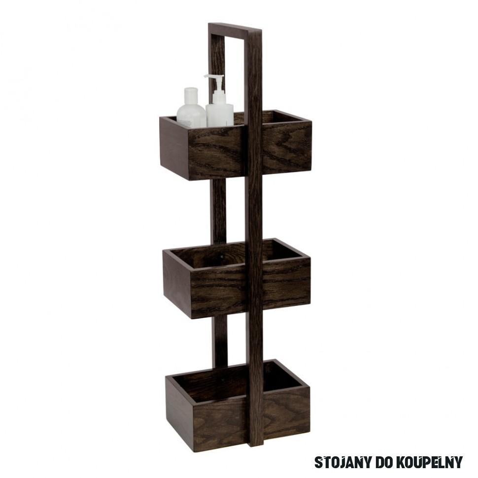 Dřevěný stojan do koupelny z dubového dřeva Wireworks Caddy Mezza Dark, 17  cm