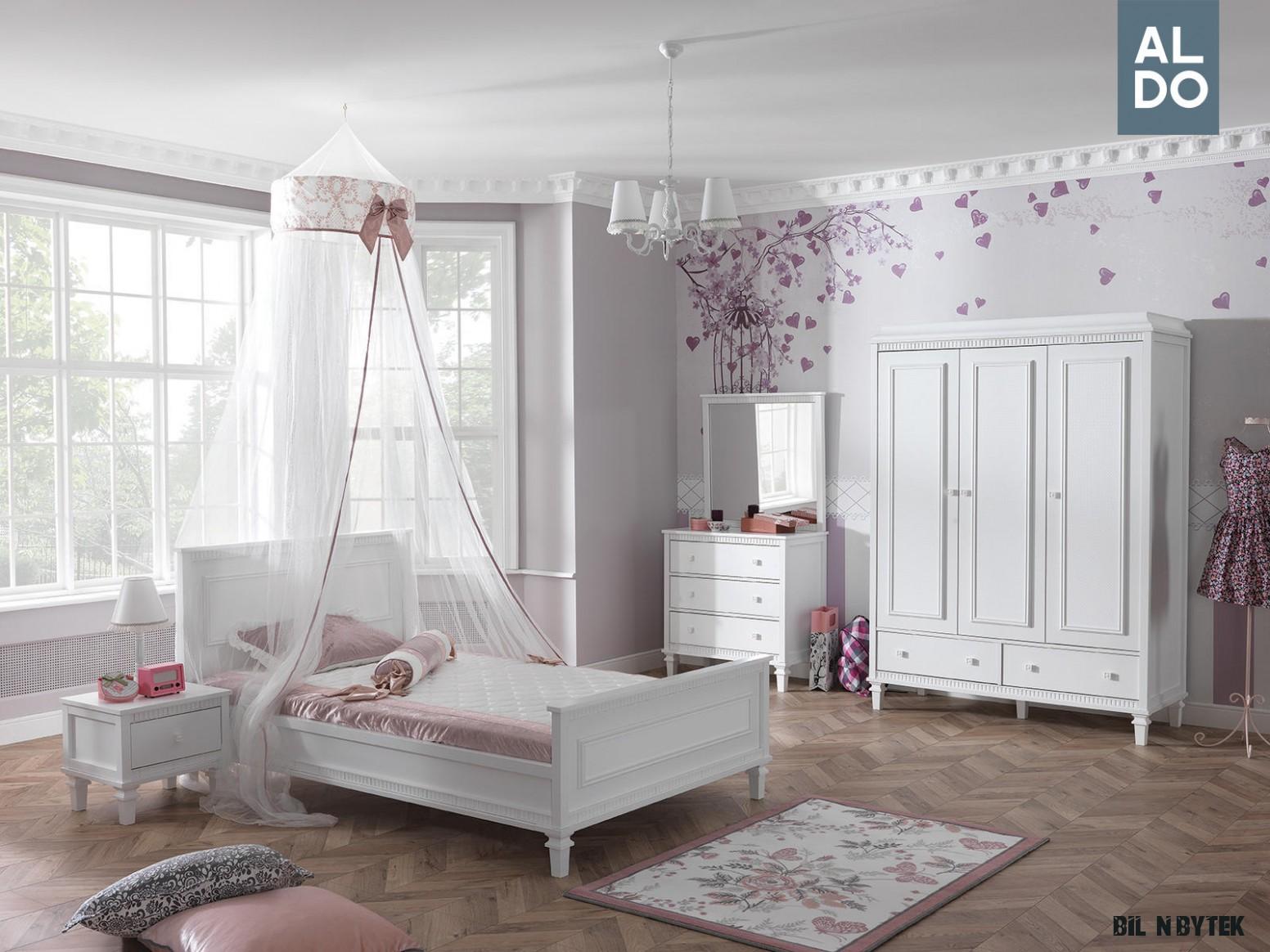 Bílý nábytek do dívčího pokoje v rustikálním stylu - kolekce
