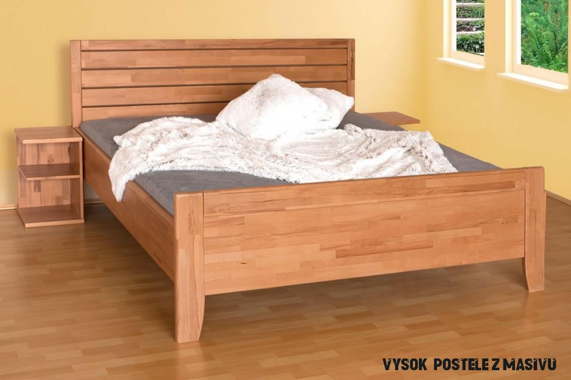 Zvýšená postel z masivu Erin 10A- vysoké přední čelo, masiv buk