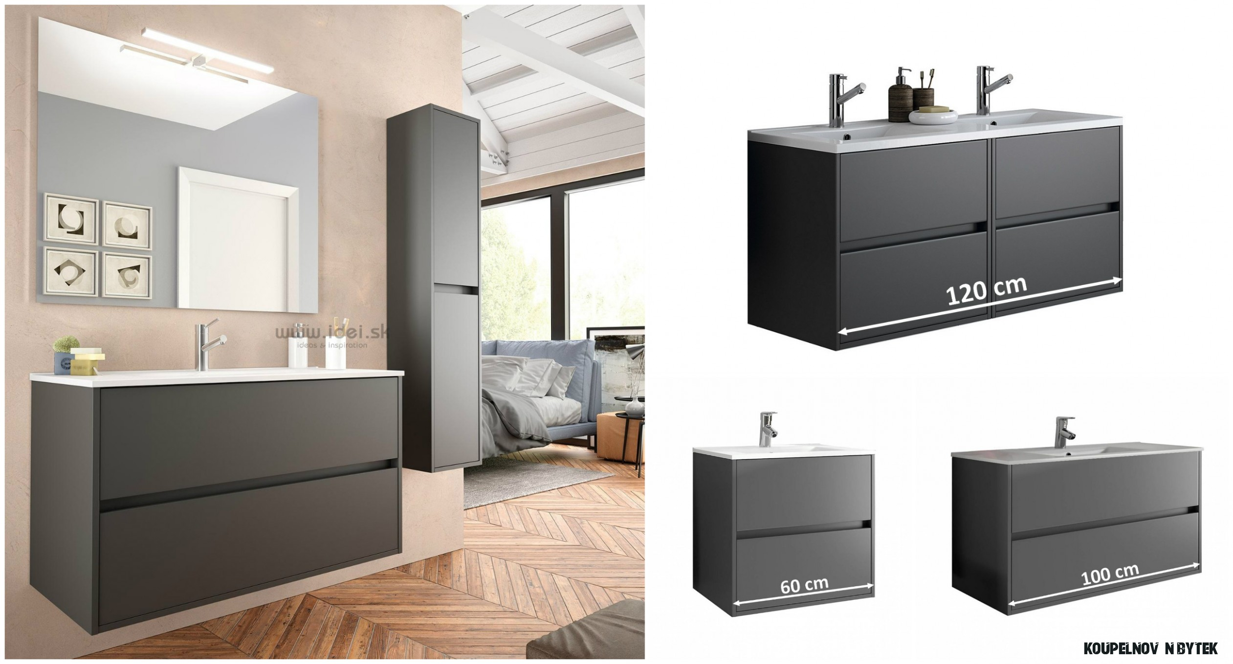 Salgar koupelnový nábytek matný šedý + umyvadlo  IDEI.CZ