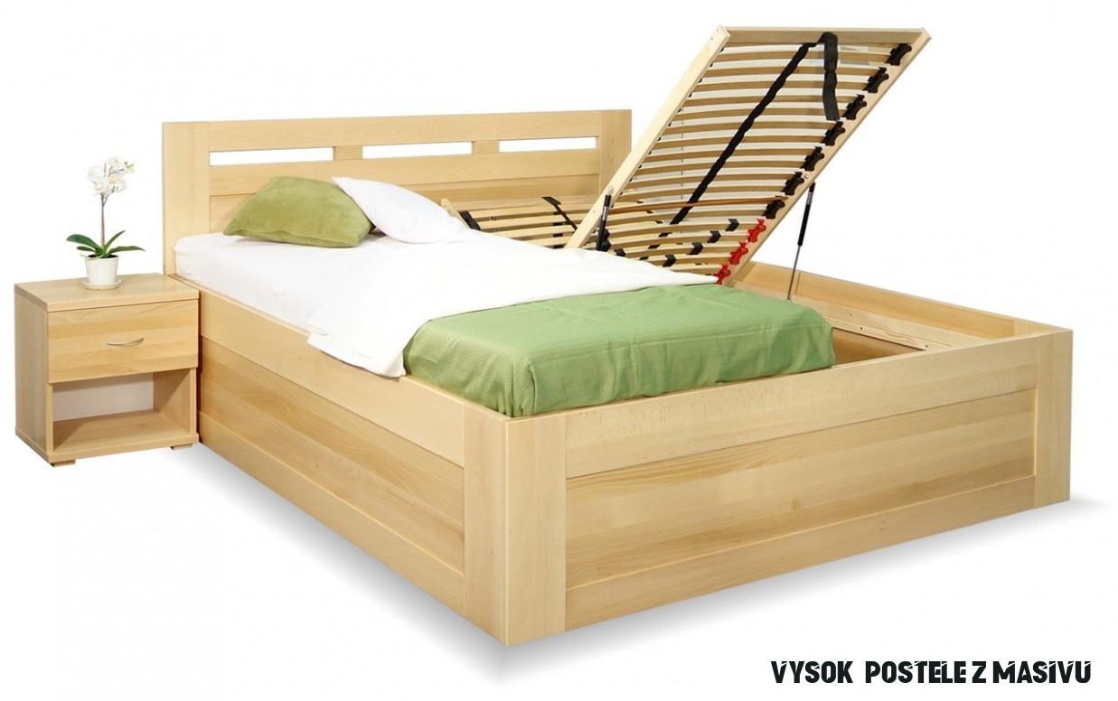 Vysoká postel s úložným prostorem Floria, masiv buk, 10x10