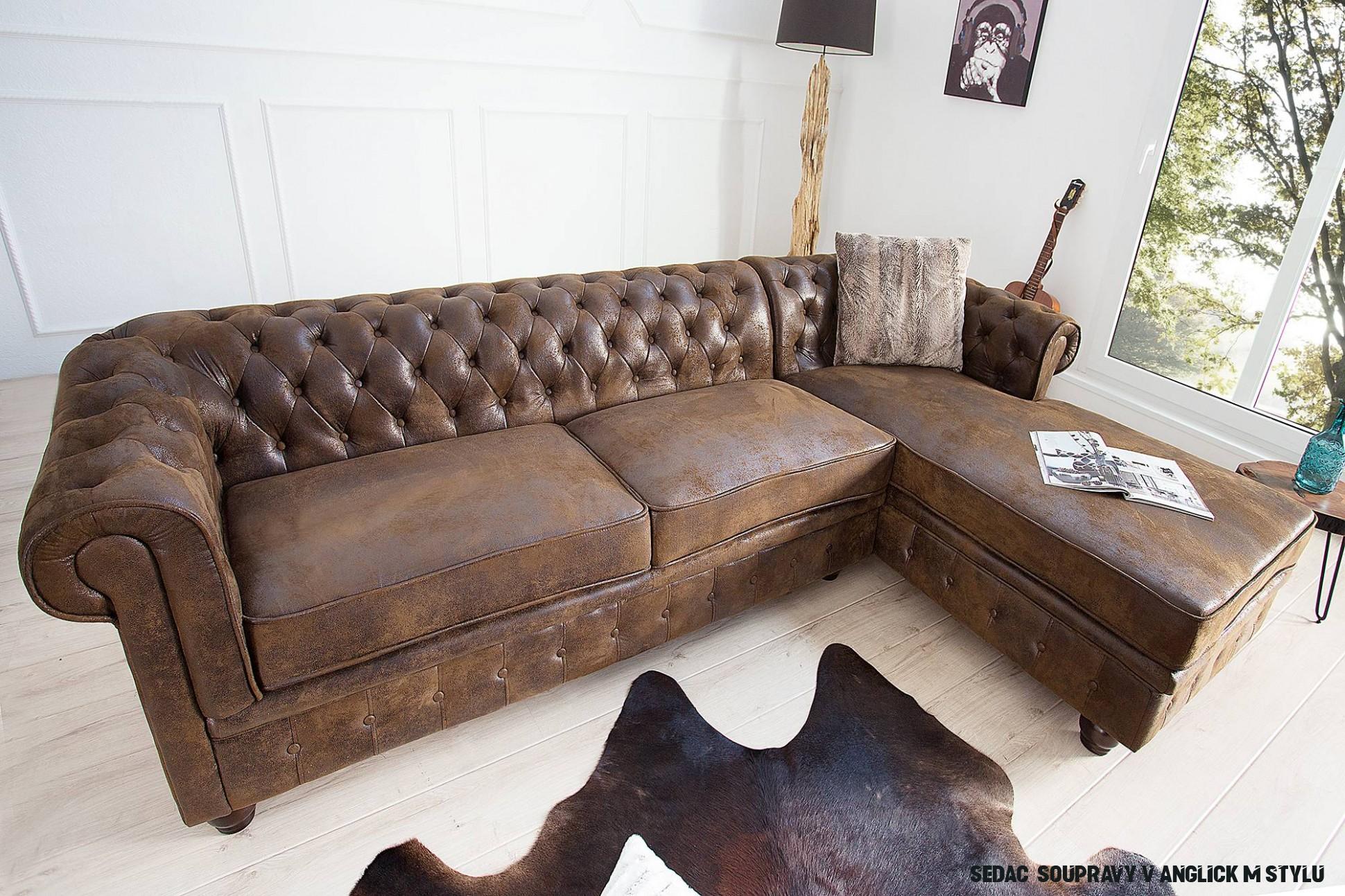 Rohová sedačka Chesterfield Vintage