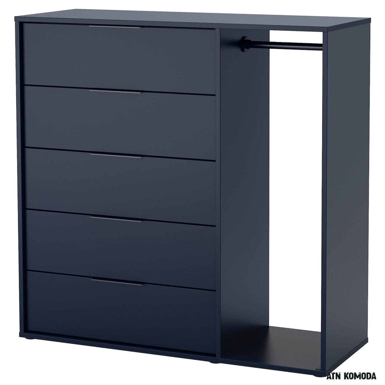 NORDMELA Komoda s šatní tyčí - černomodrá 13x13 cm
