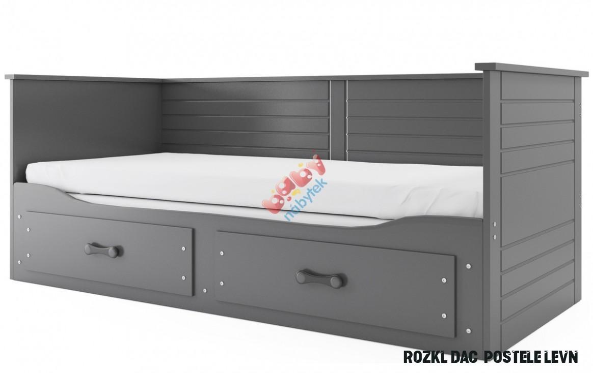 Dětská rozkládací postel HERMES se zády - šedá - S přistýlkou