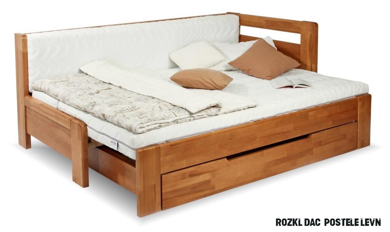 Rozkládací postel s úložným prostorem DUO NINA pravá, 17x17, buk