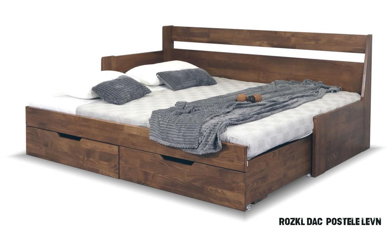 Rozkládací postel s úložným prostorem GABRIEL - Levá, masiv buk