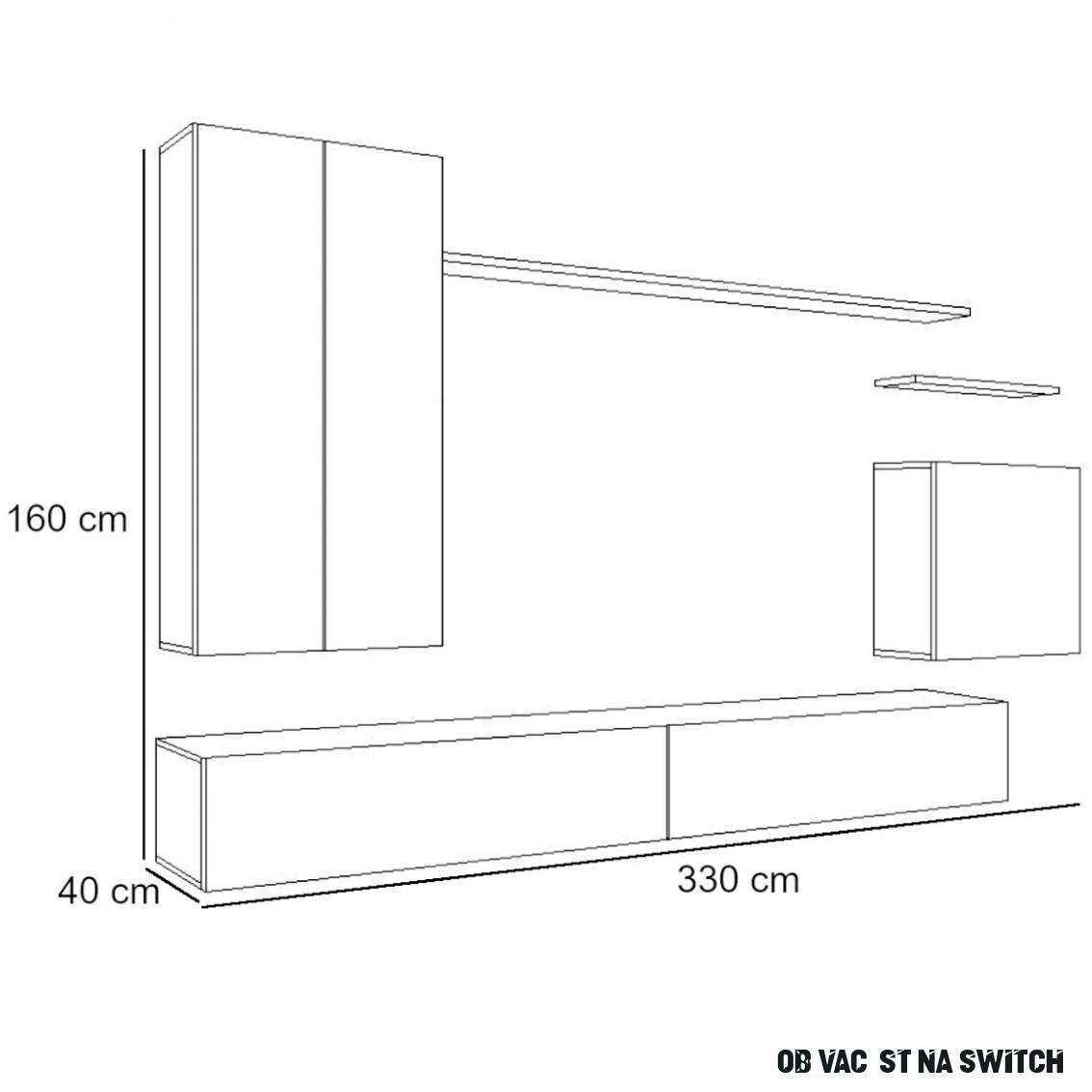 Obývací Stěna Switch II Černá/Bílý / BAUMAX