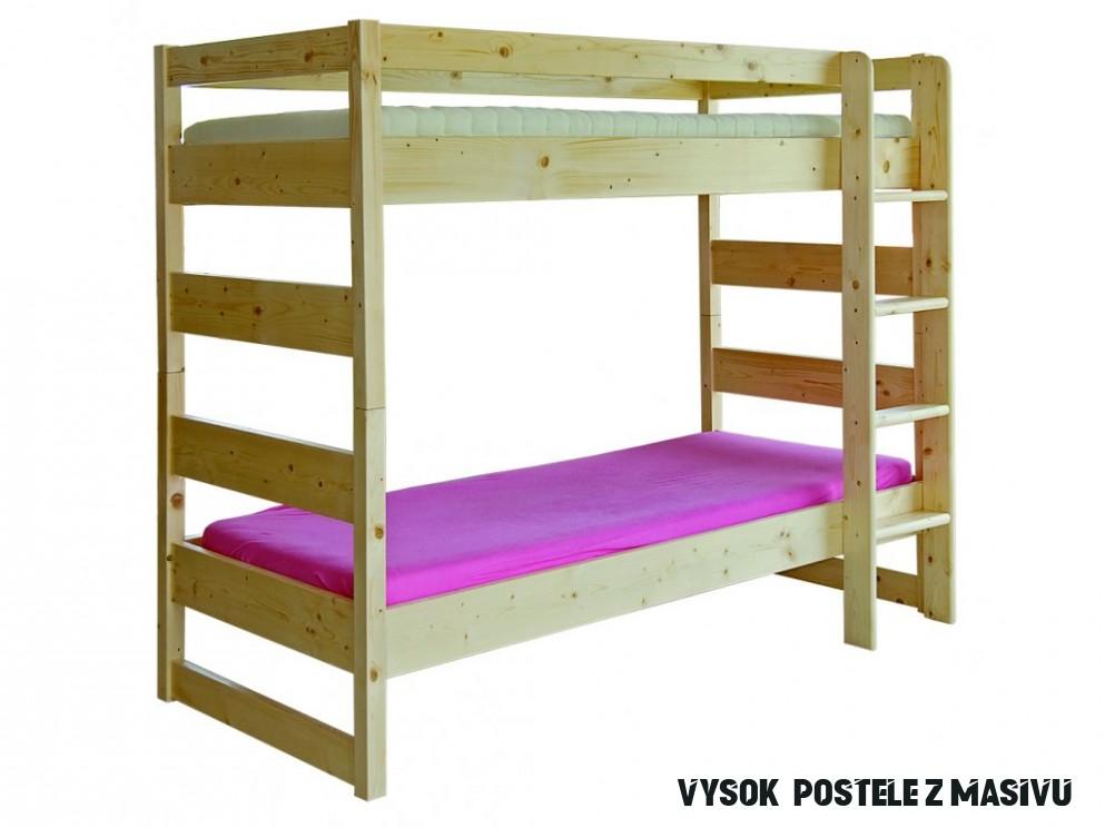 Patrová postel masiv PAULA 10x10, masiv smrk - Vysoké Postele