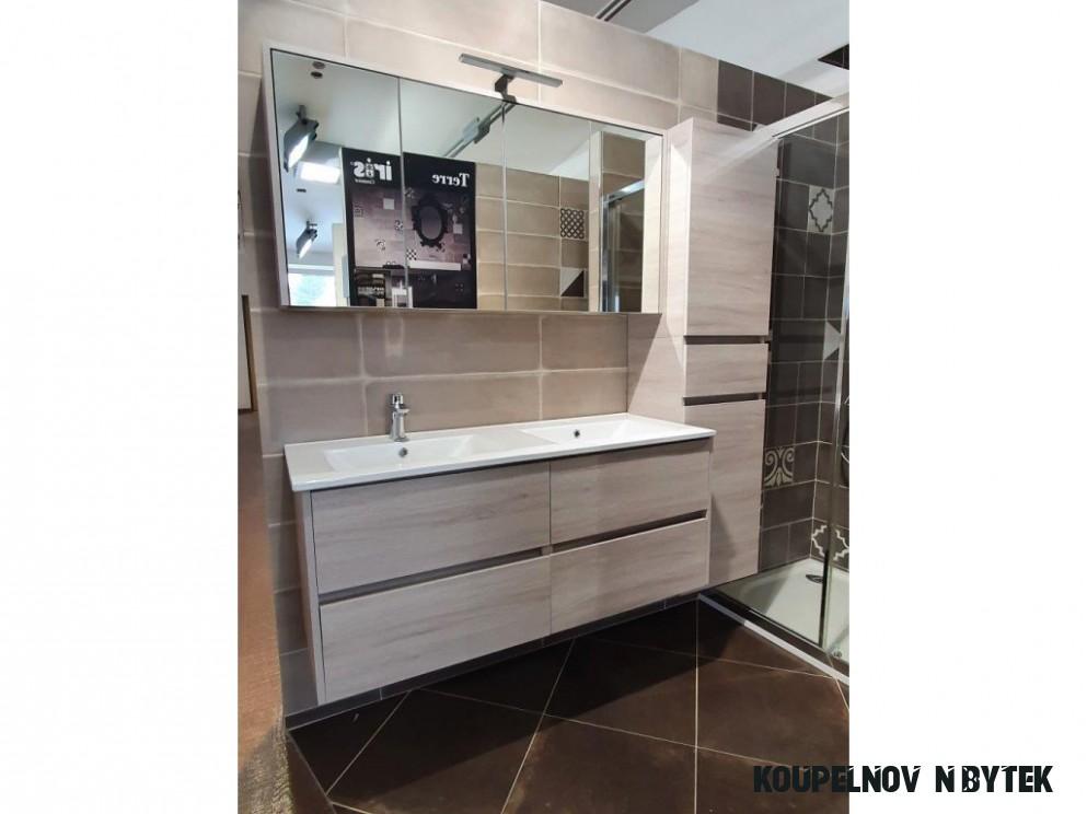 Riho PORTO SET 8 Umyvadlo, skříňka pod umyvadlo, zrcadlová skříňka včetně  osvětlení + vysoká skříňka, dub šedý, SET8/DP8