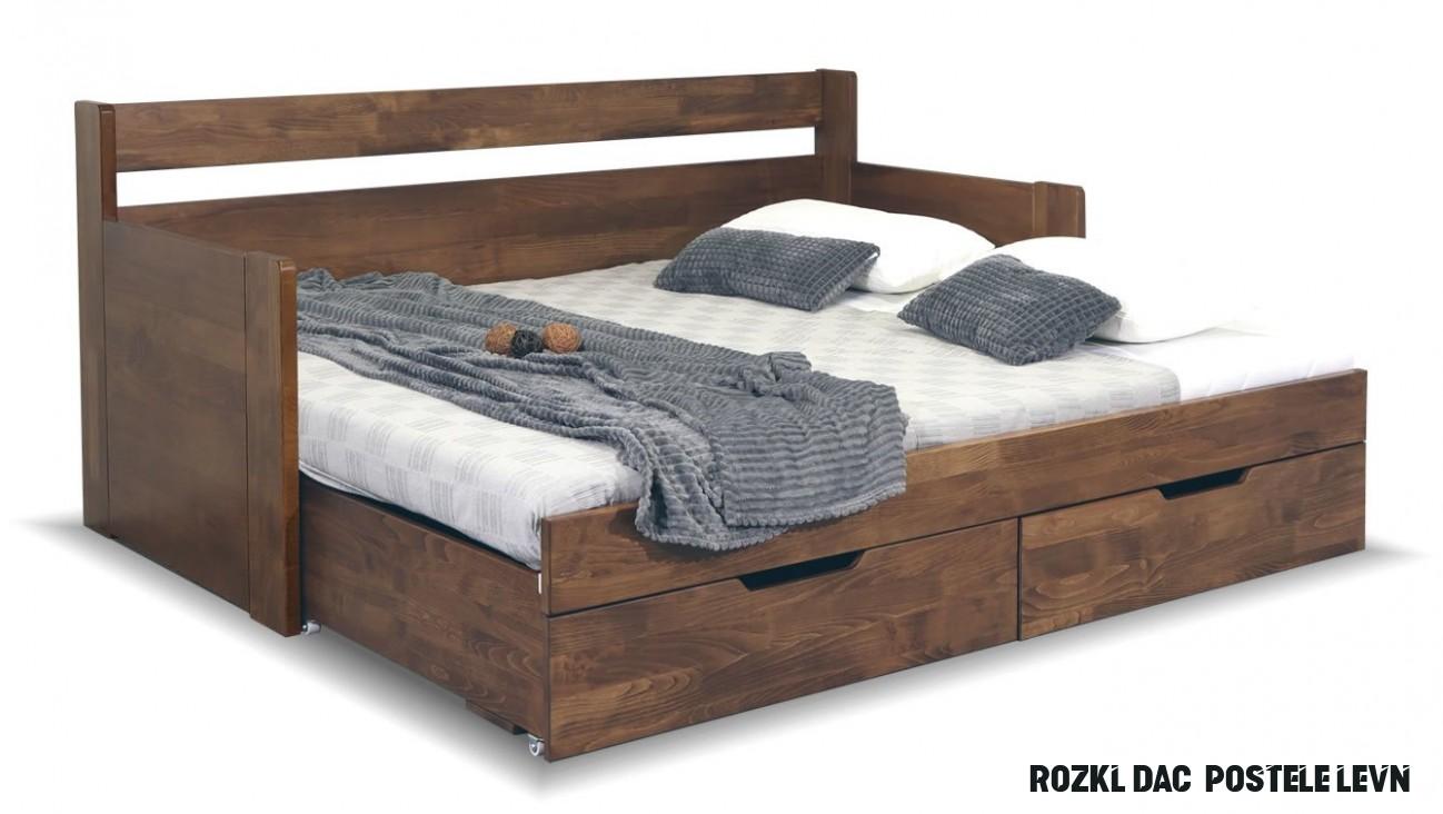 Rozkládací postel s úložným prostorem GABRIEL s područkami, masiv buk
