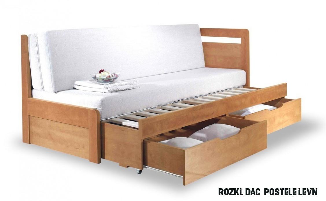 Rozkládací postel s úložným prostorem TANDEM KLASIK pravá - oblá